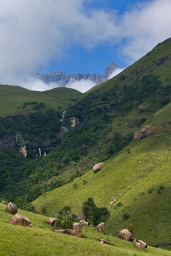 Glimpse of Drakensberg at Cathedral Peak