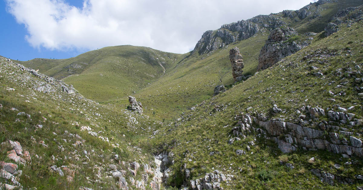 David and Goliath rock stacks in Klein River Mountains