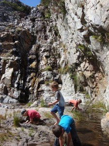 Children playing at waterfall