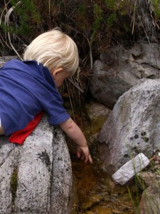 boy discovering stream life