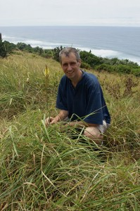 Photograph of Christopher Whitehouse with Kniphofia gracilis