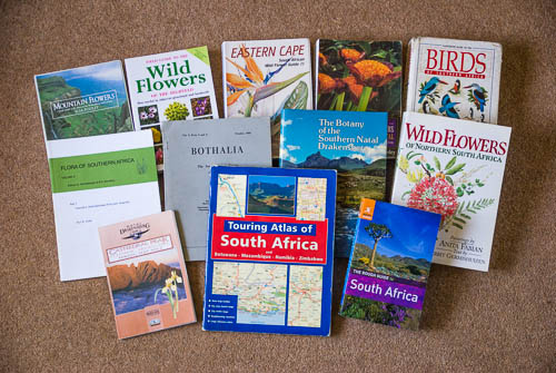 Display of some field guides for Kniphofia expedition to South Africa