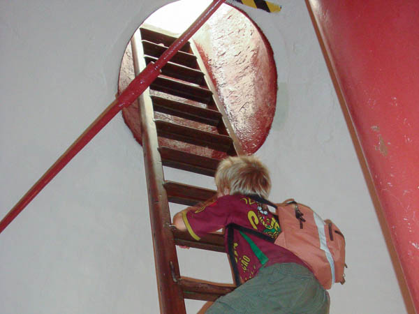 Climbing Cape Agulhas lighthouse ladder