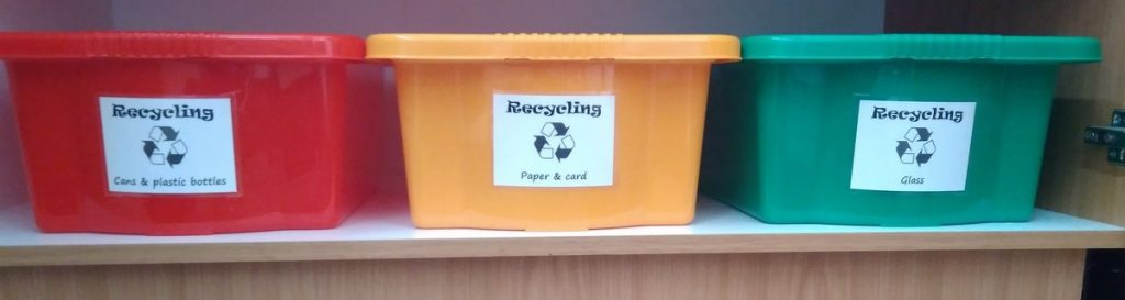 Recycling boxes for can and plastic, paper and card, glass