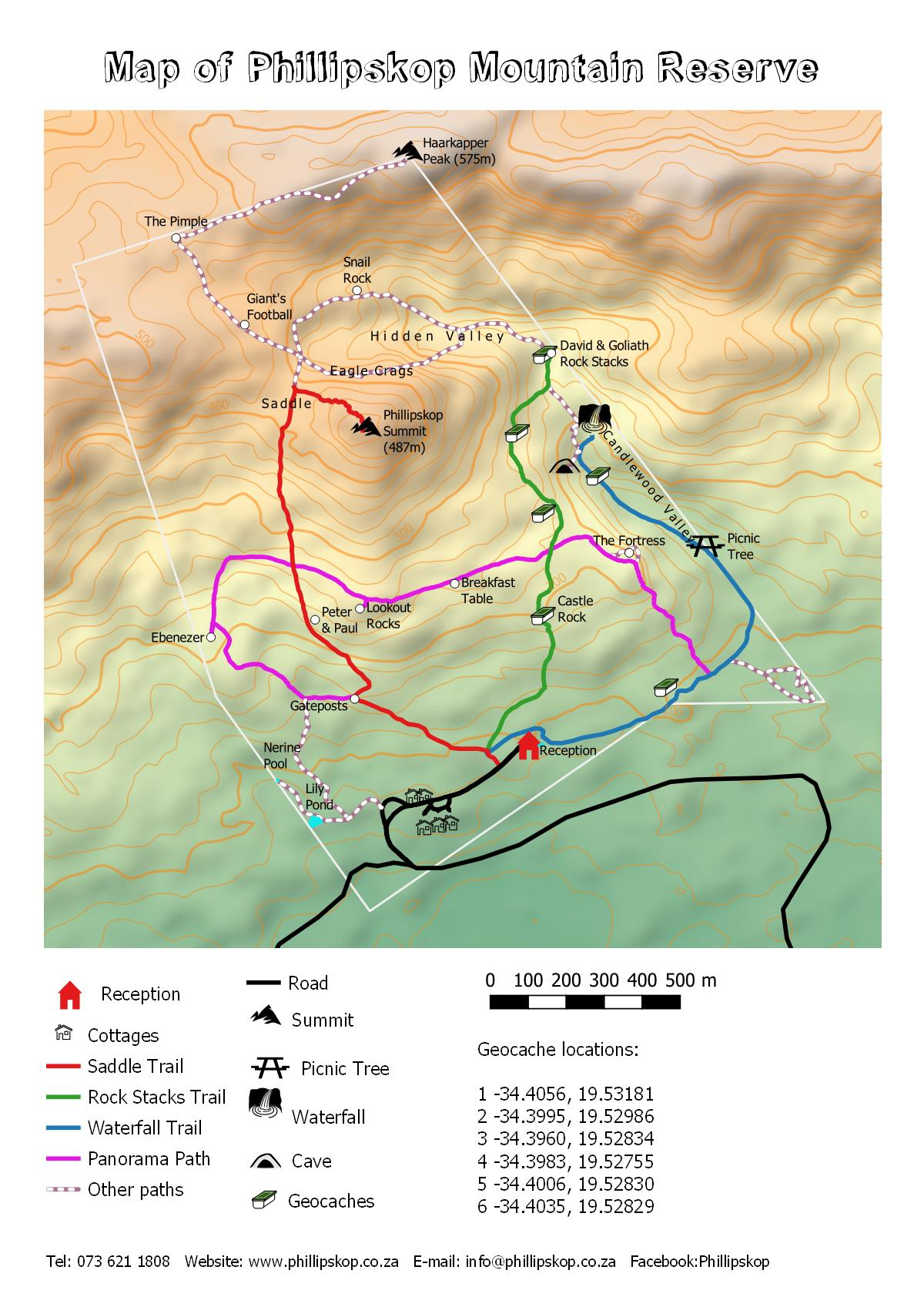 Map of Hiking Trails at Phillipskop Mountain Reserve