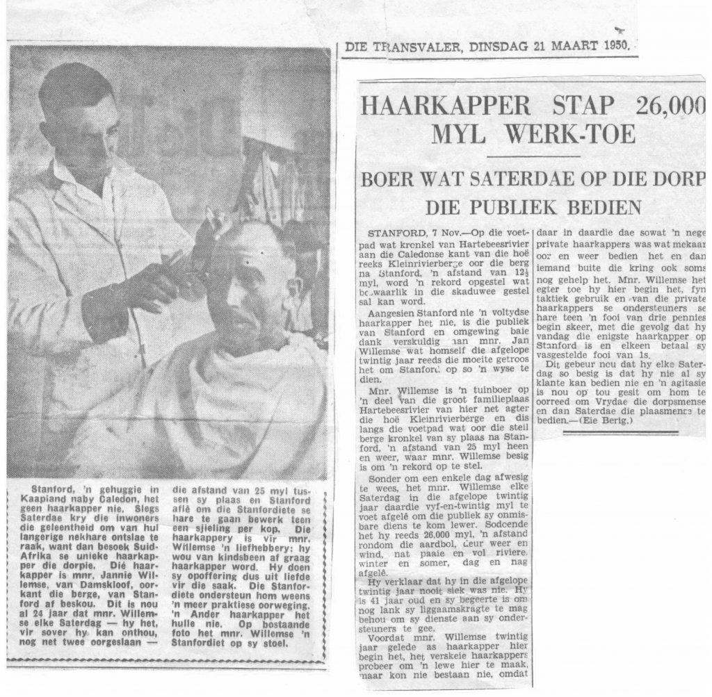 Newspaper articles on Tesselaarsdal Barber